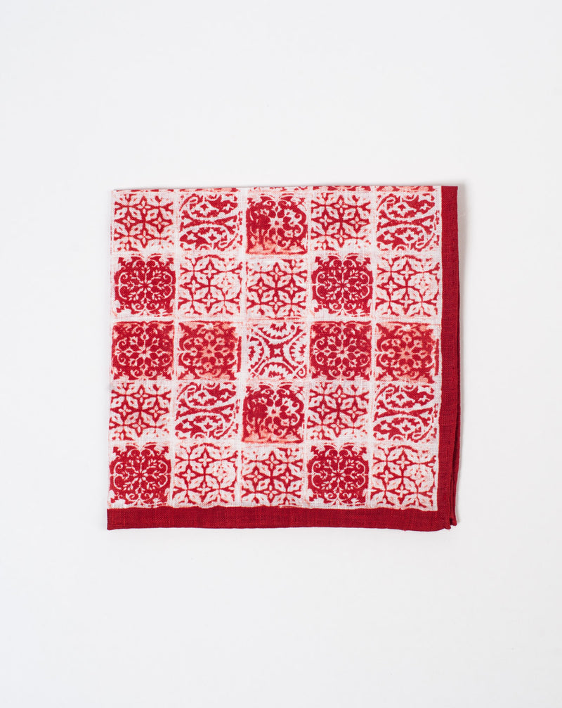 Crimson Tile Pocket Square