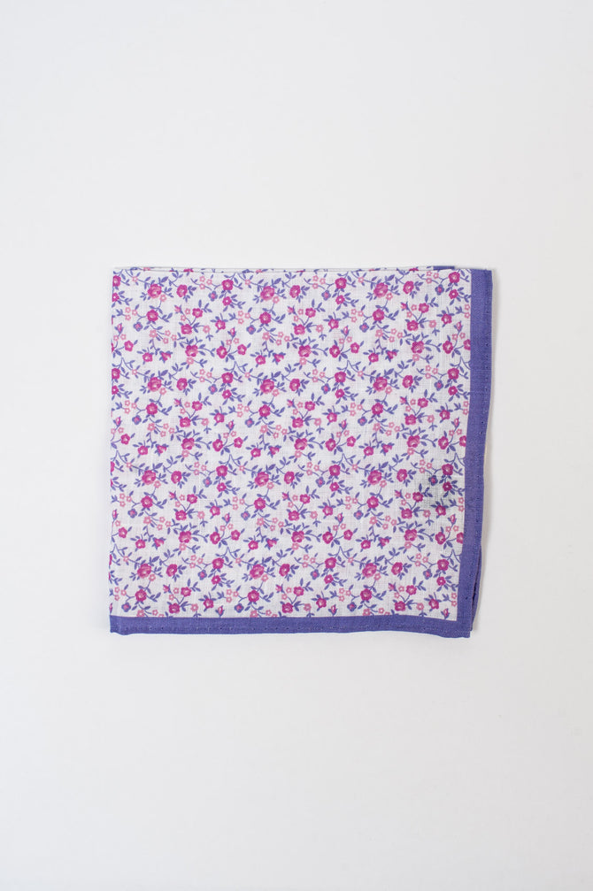 Pink and Violet Floral Pocket Square