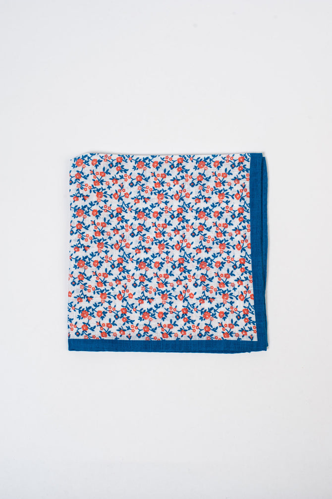Orange and Navy Floral Pocket Square