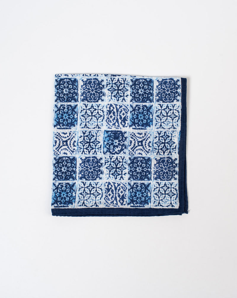 Navy Tile Pocket Square