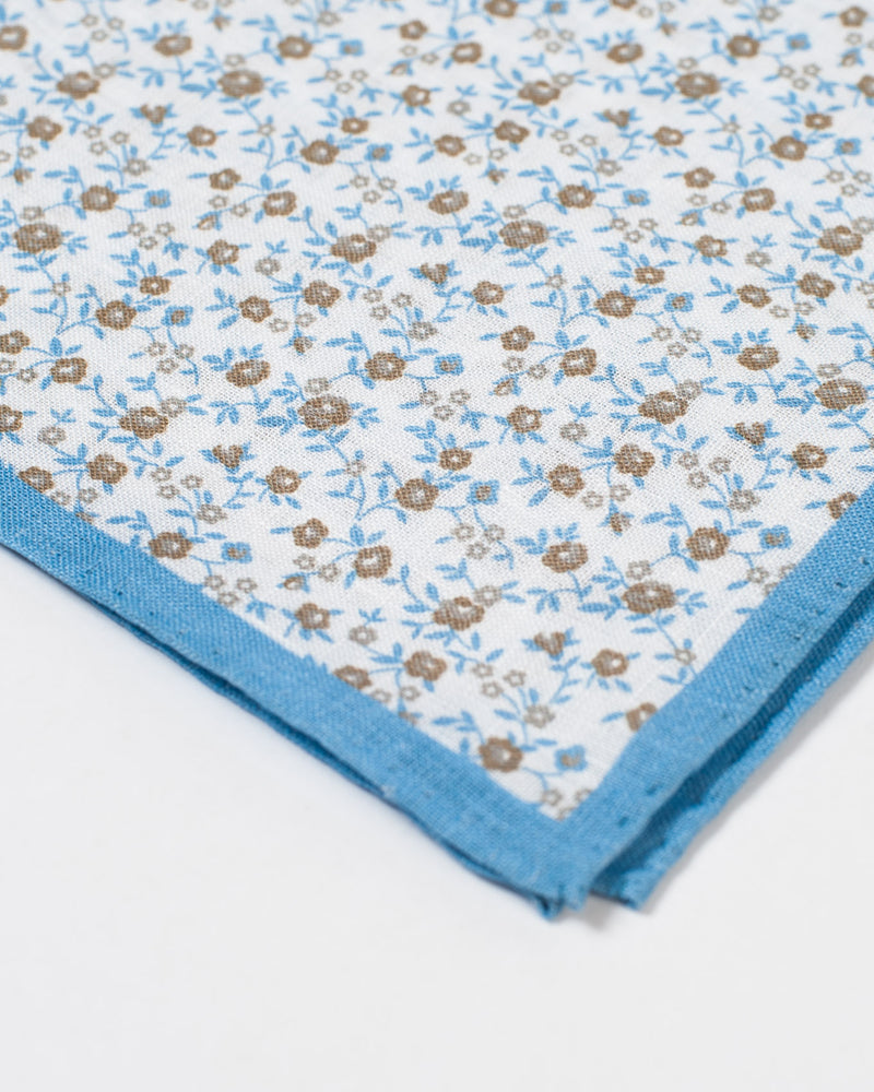 Olive and Blue Floral Pocket Square