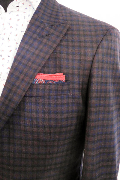 Volante Navy and Burgundy Check Sportcoat