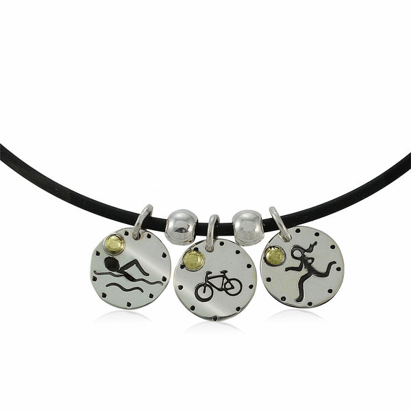 Swim Bike Run Figures Necklace