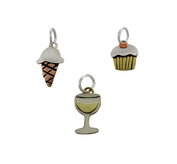 Cupcake - Ice Cream Cone - Wine Glass Charms