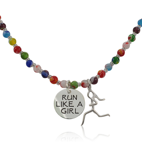 Run Like A Girl Beaded Necklace Charm Duo