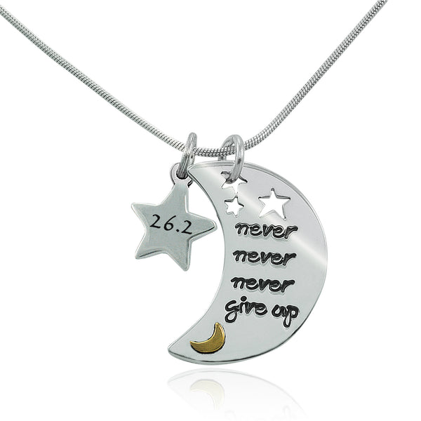 26.2 Never Never Never Give Up Charm Duo Necklace