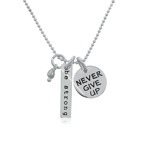 Be Strong Never Give Up Charm Trio Necklace