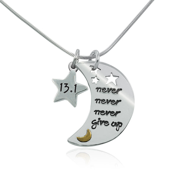 13.1 Never Never Never Give Up Charm Duo Necklace