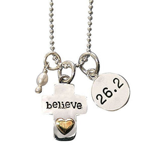 26.2 Believe Cross Charm Trio Necklace