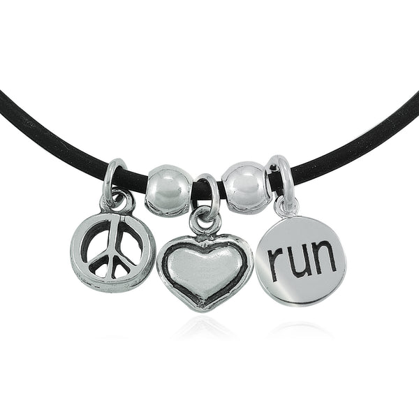 Peace Love Run Charm Trio Necklace