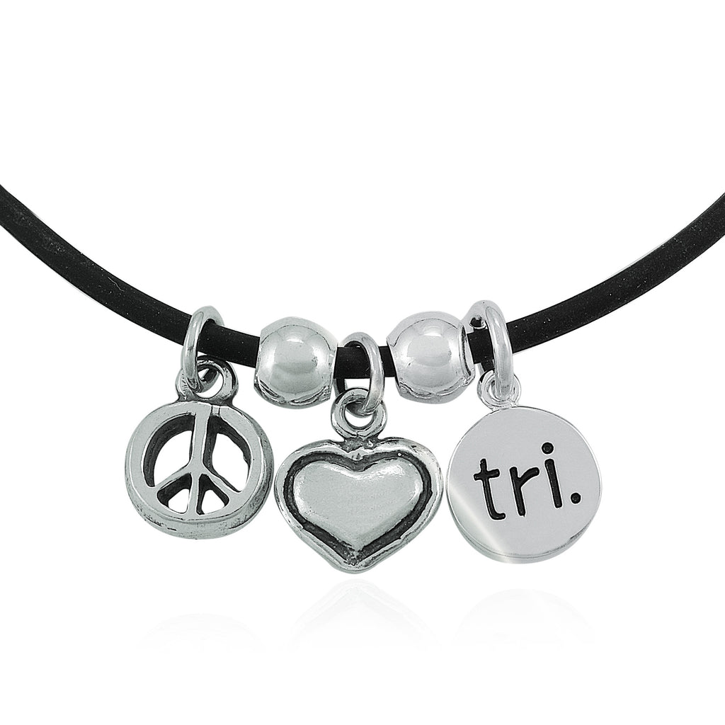 Peace Love Tri  Charm Necklace