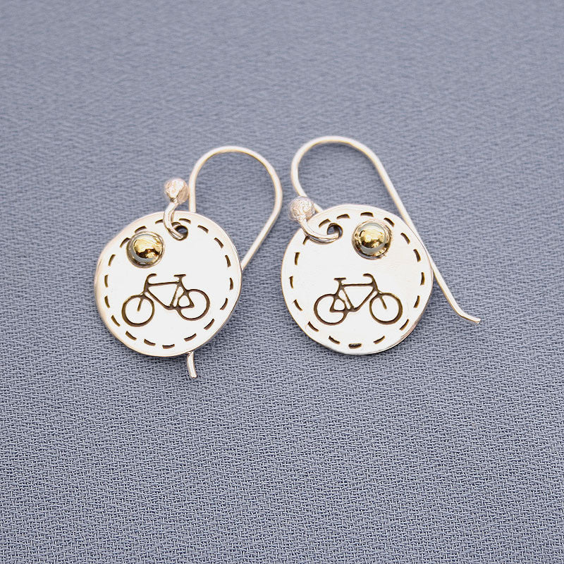 Bike Coin Style Earrings