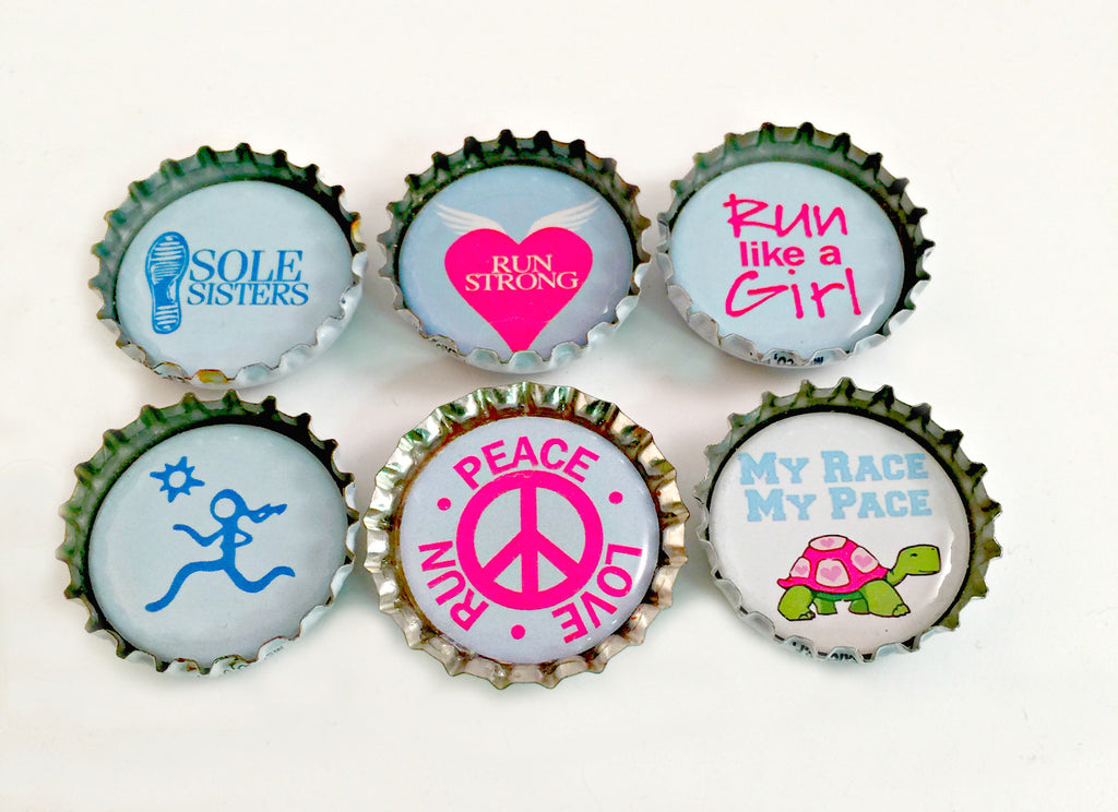 Running Theme BottleCap Magnets
