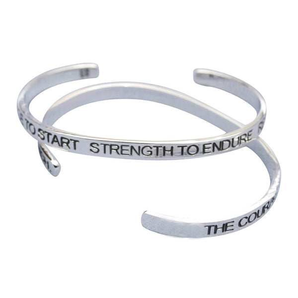 Courage To Start Strength To Endure Resolve To Finish Cuff Bracelet