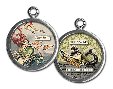 She Swims Against The Tide Glass Pendant