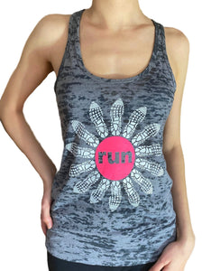 Run Flower Burnout Racerback Tank