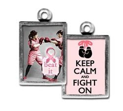 Breast Cancer Keep Calm & Fight On Glass Pendant