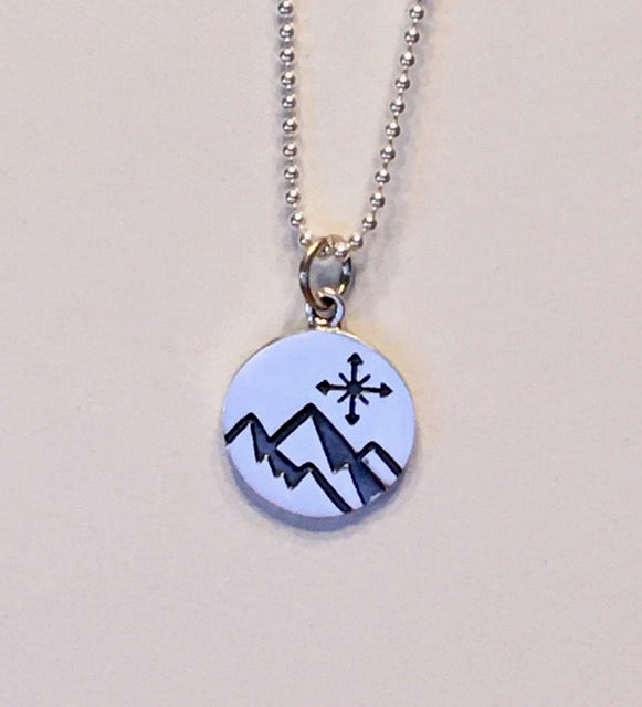 Mountain with Compass Charm