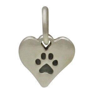 Heart with Paw Print Charm