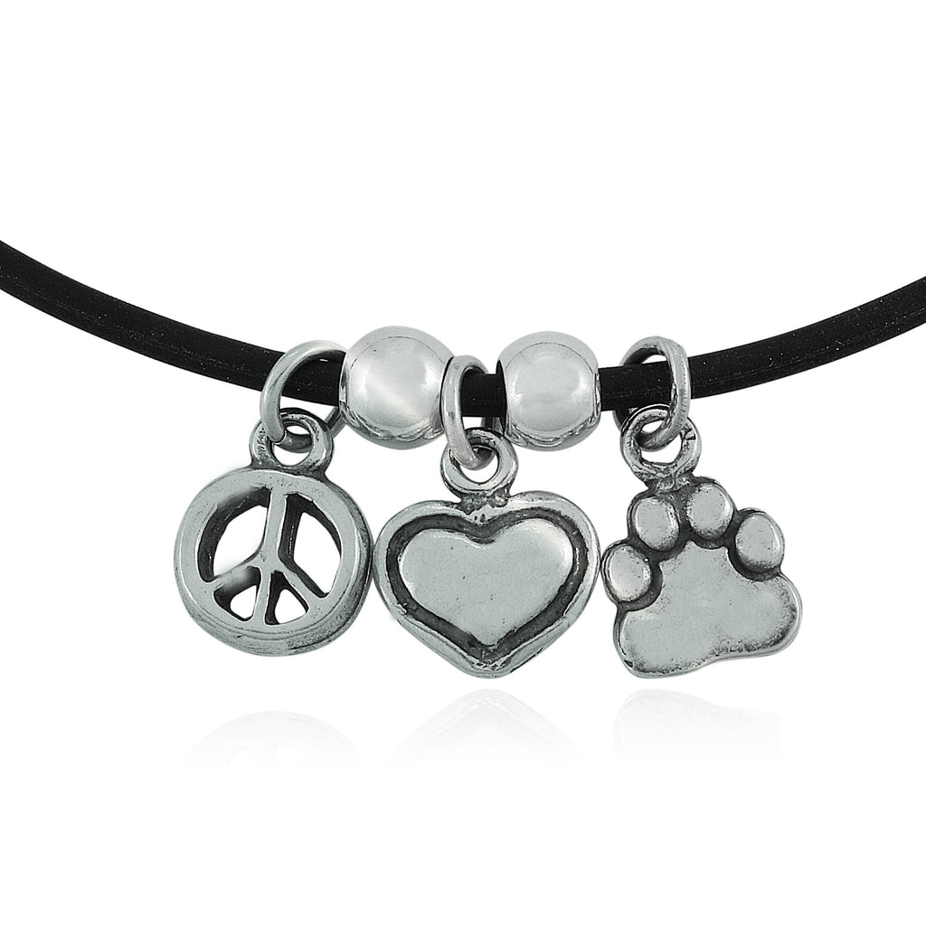 Peace Love Paw Charm Trio Necklace