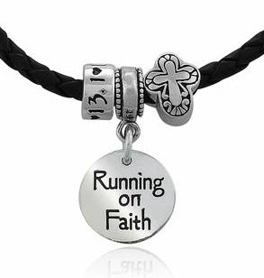 Running On Faith Charm Trio Bead Bracelet