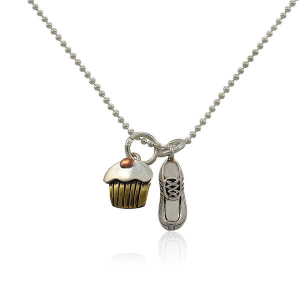 Will Run For Cupcakes Charm Duo Necklace
