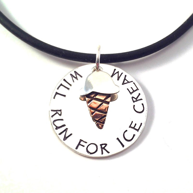 Will Run For Ice Cream Charm Duo Necklace