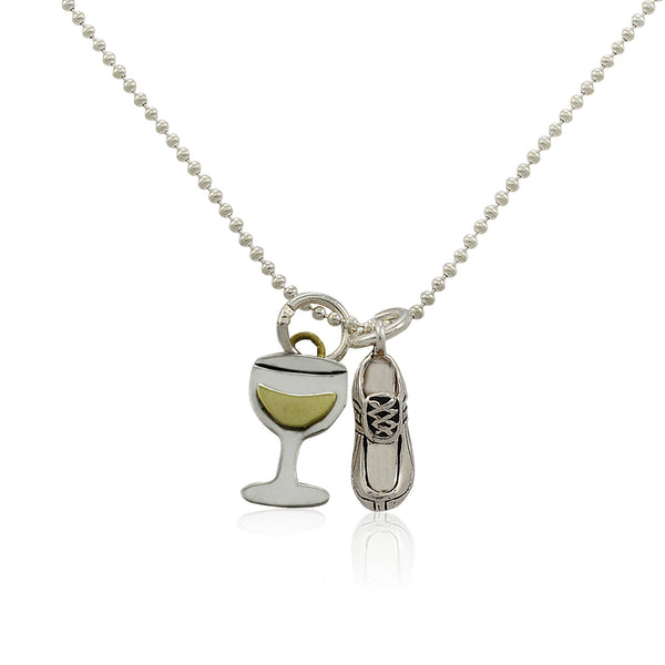 Will Run For Wine Charm Duo Necklace