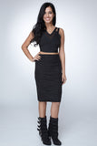Body Con Lurex Metallic Black Skirt