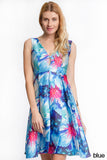 Fitted A Line blue floral dress