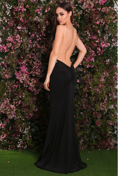 Black and Gold gown with ruching on the back