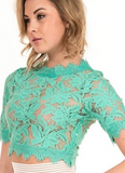 Lace Crop Top - Mint Green