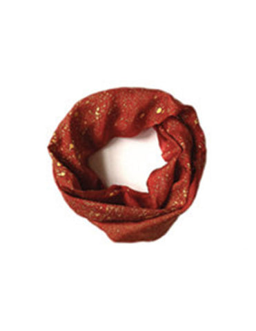 Red and Gold Silk Scarf | Handmade