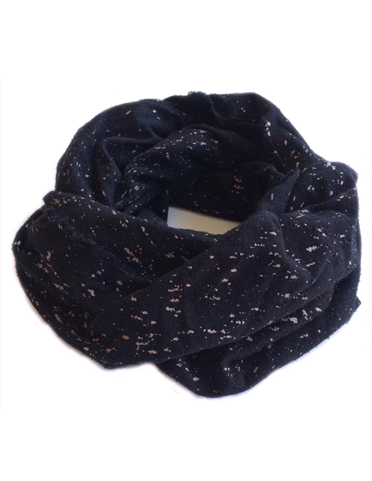 Raw Silk Black and Rose Gold Scarf