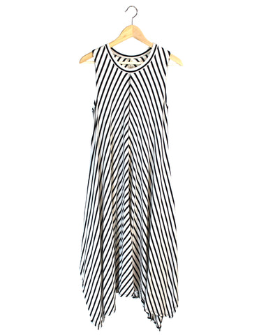 Black And White Handkerchief Midi Dress / Ethical Fashion