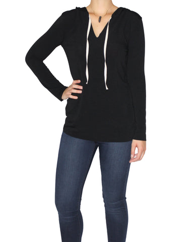 Black Tee-Hoodie Front / Ethical Fashion