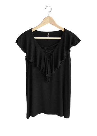 Black Criss-Cross Top with Flutter Sleeves | Made in America