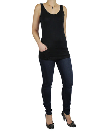 Black Pocket Tank Top Side / Ethical Fashion