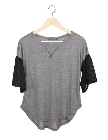 Charcoal Top with Lace Sleeves / Ethical Fashion