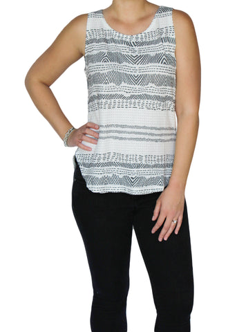 Black and White Waffle Stitch Tank | Made in America | Ethical Fashion