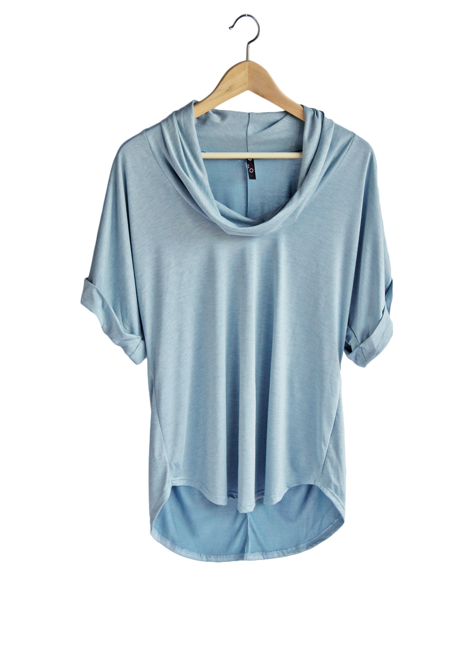 Sky Blue Cowl Neck Tee | Made in America | Ethical Fashion