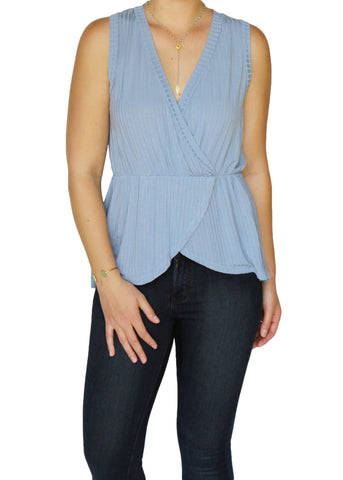 Ice Blue Drape Top | Made in America | Ethical Clothing