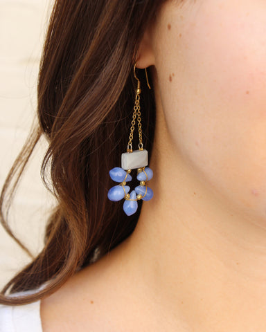 Blue Gem Earrings On / Fair Trade Jewelry