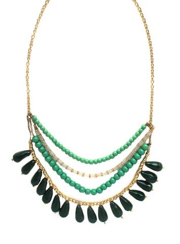 Green Bead Statement Necklace / Fair Trade Jewelry