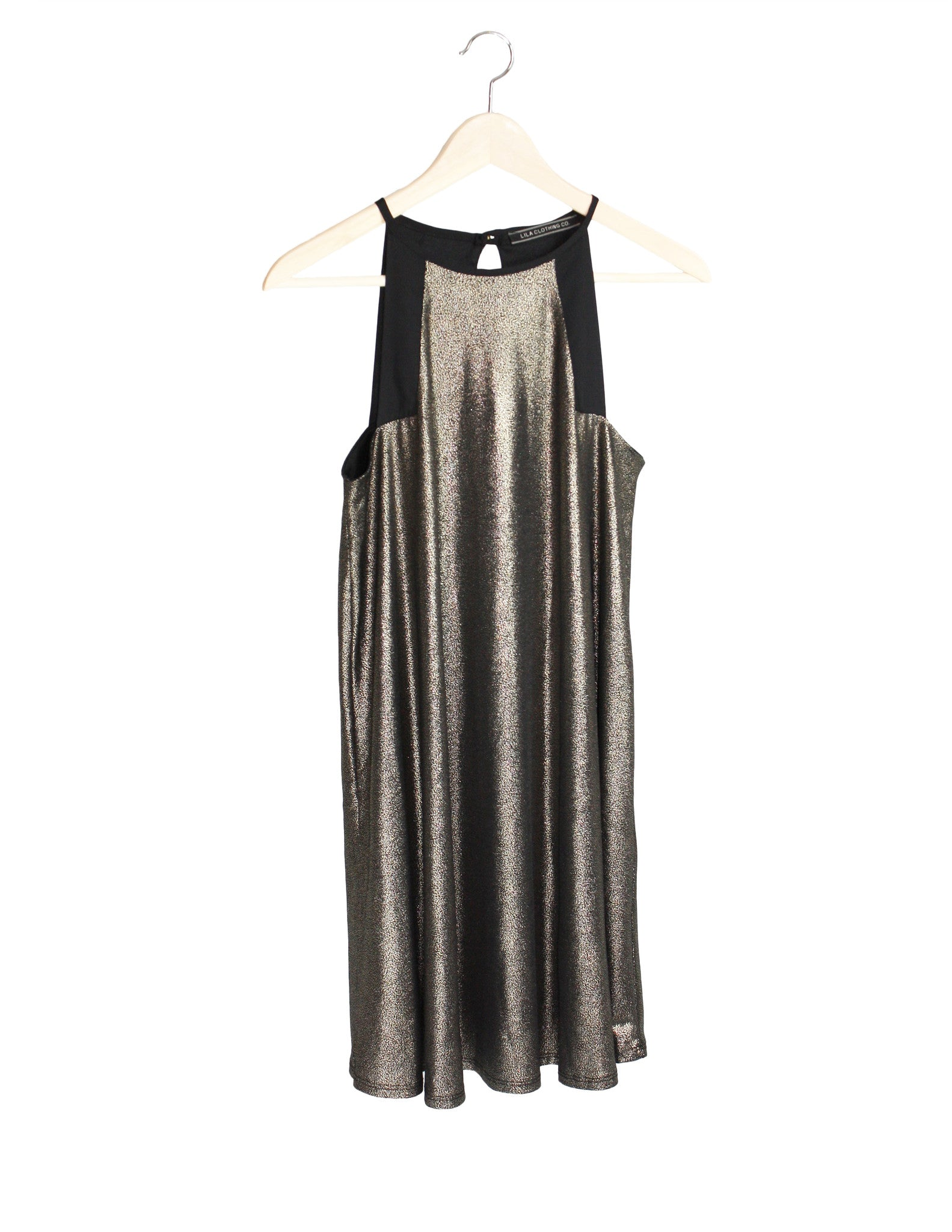 Gold Glitter Shift Dress / Ethical Fashion