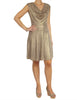 Gold Glam Draped Dress (Front) / Ethical Fashion