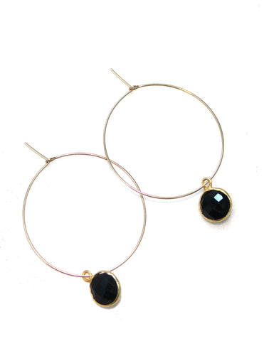 Gold Hoops with Black Stone / Ethical Fashion