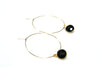 Gold Hoops with Black Stone (Side) / Ethical Fashion