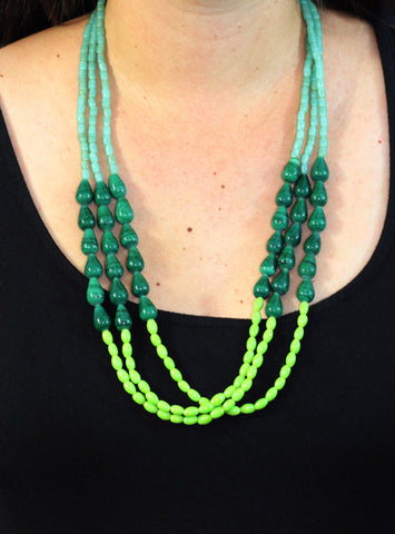 Green Ombre Necklace (On) / Fair Trade Jewelry