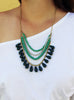 Green Bead Statement Necklace (On) / Fair Trade Jewelry